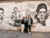Vivianne, Martin and Matthew Cohen with salsa hero's mural. Barrios Altos, Lima, Peru