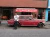 Matthew Cohen in front of Mariela Valencia's restaurant.  Lima, Peru.