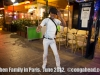 Dancer in front of Le Baiser Salé, Paris France.