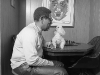 Dizzy Gillespie with his dog, Maestro