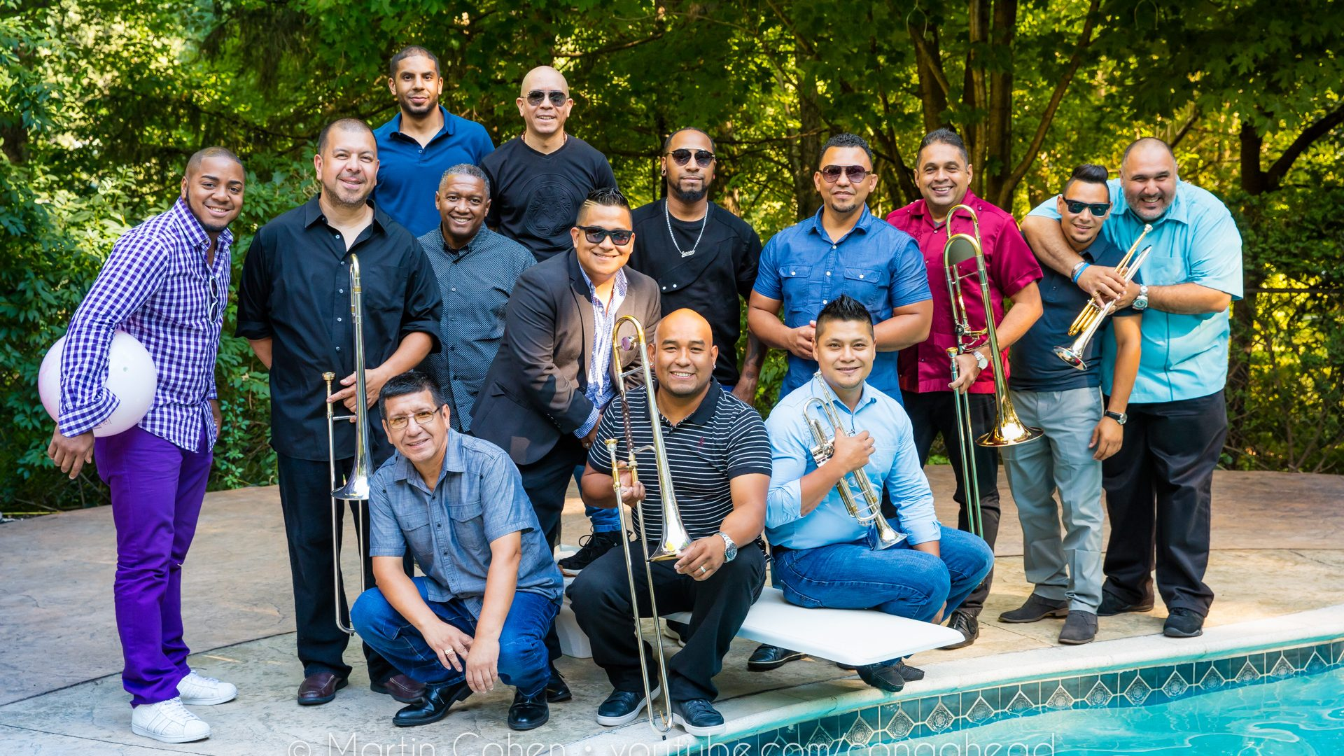 Toninho Boza Rivera's salsa band performs at Congahead Studios