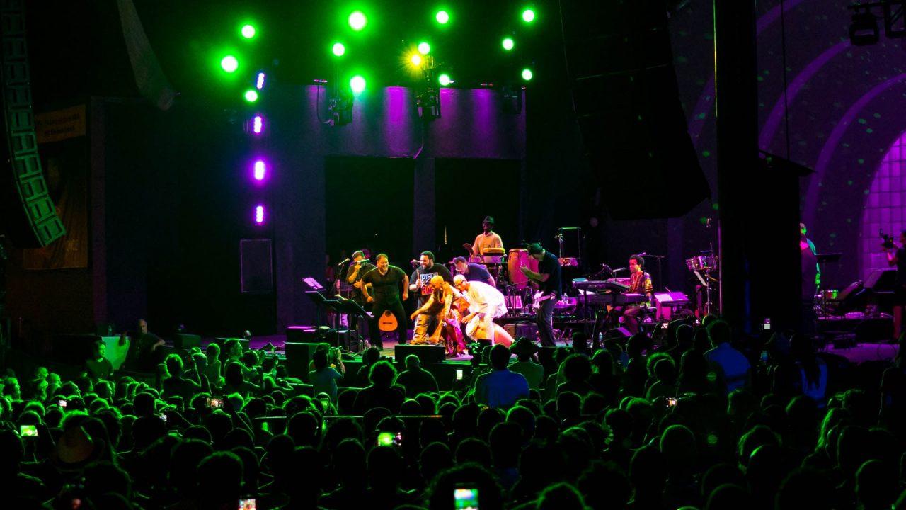 "Angelique Kidjo, Yosvany Terry and Pedro ""Pedrito"" Martínez at  Prospect Park Band Shell."