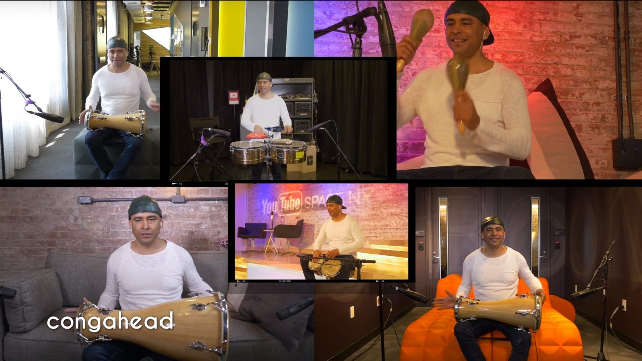 Mauricio Herrera Performing Around Different Parts of YouTube Space NY