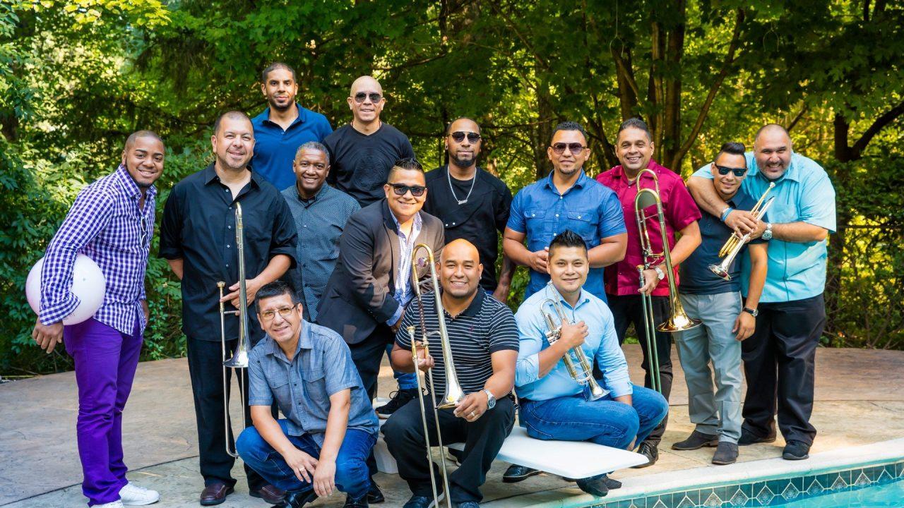 Orquesta La Ley salsa band performs at Congahead Studios