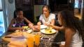 Denielle, Anjeli and Thalia at breakfast