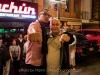 Martin Cohen with musician getting down outside club Sachún. Lima, Peru.
