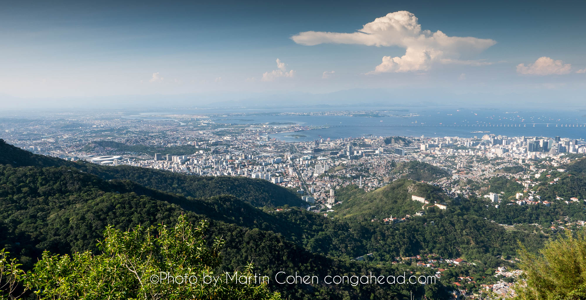 A view from Corcovado with the famous soccor stadium, Maracana off to the left