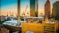 NewYork City skyline as seen from the 17th floor of a building on 77th Street off York Avenue.